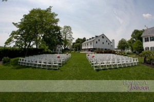 This wedding and ceremony were all at the same venue. The ceremony was outside while the reception was under a tent.