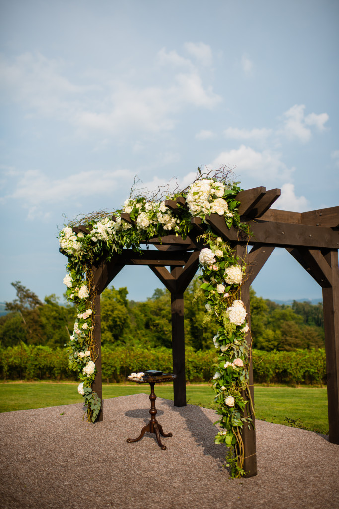 A family friend built this custom arbor for the wedding ceremony.