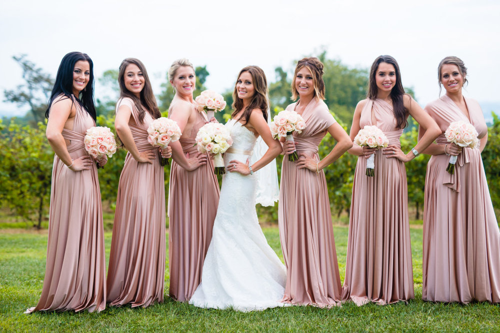 The bride and her beautiful bridesmaids.