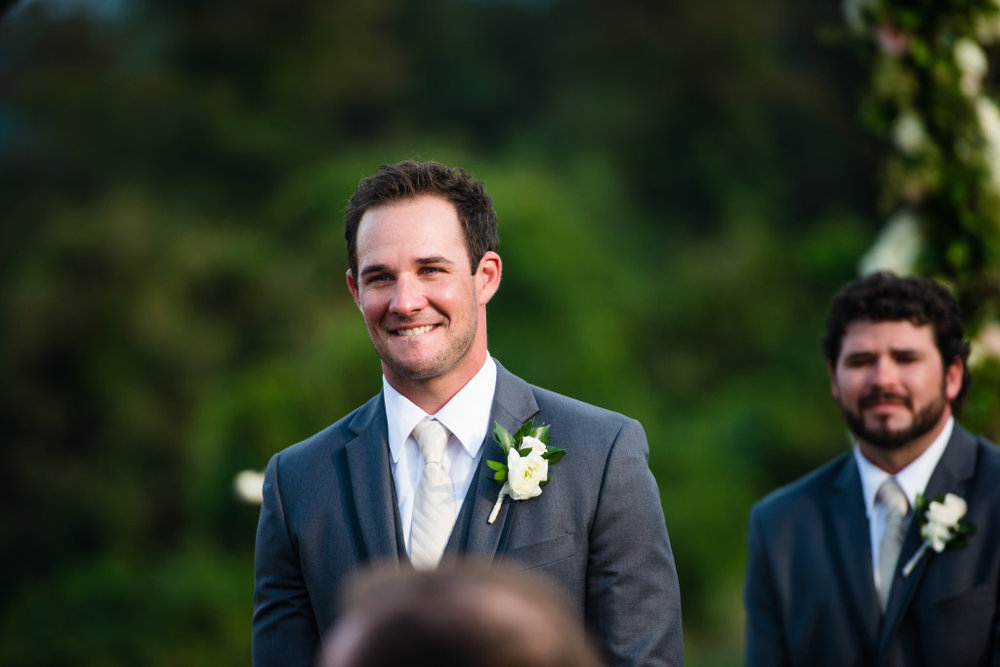 My favorite part of a ceremony - when the groom first sees his bride coming down the aisle! Makes me tear up every time!
