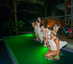 Towards the end of the night they entire bridal party jumped in one of the pools!