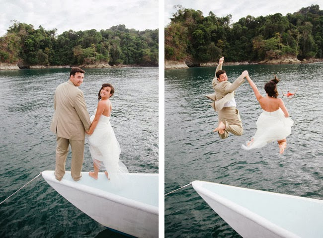 Jumping in with their wedding clothes on!