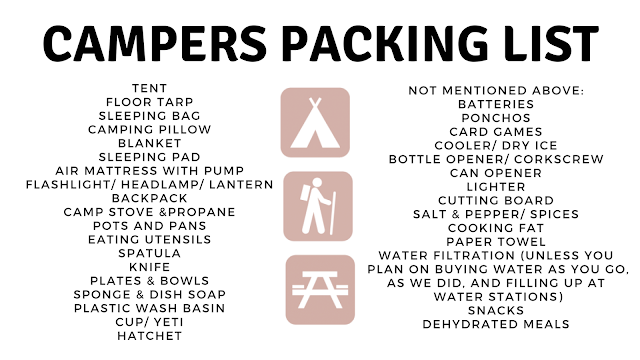 Below is a master packing list with everything I could think of besides  personal care products, clothes, and firewood. Happy Camping! Amanda