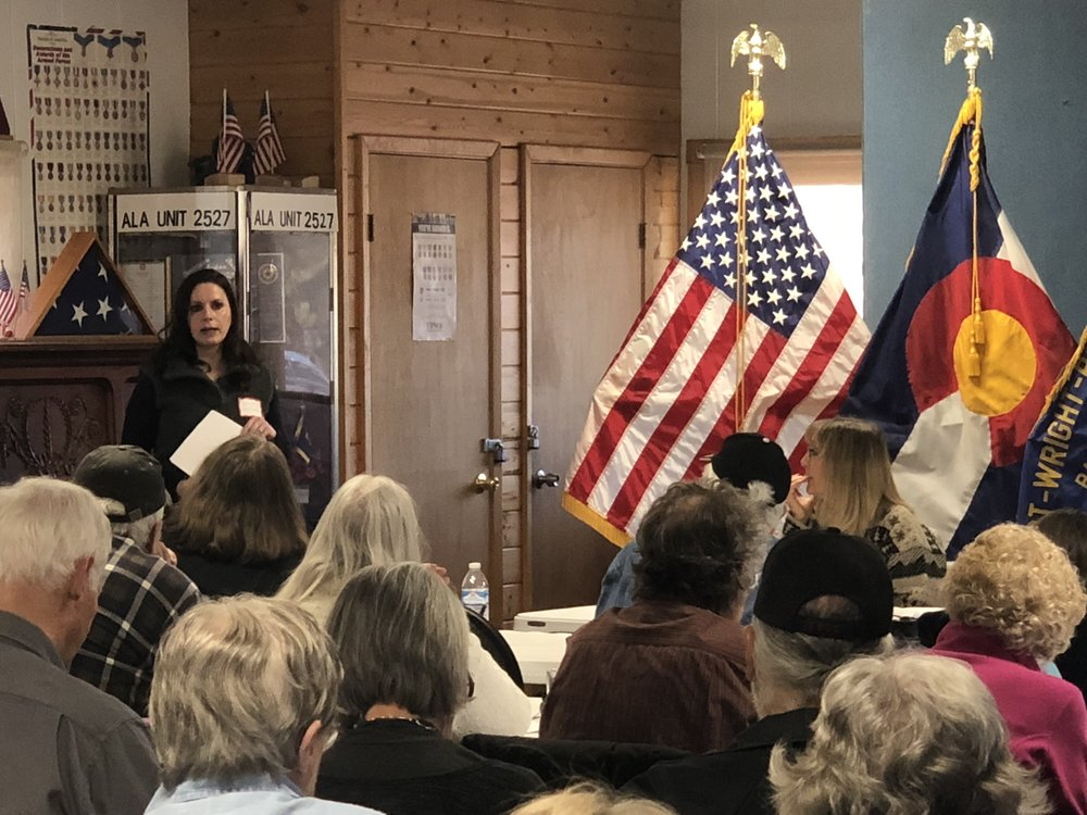 Erin Kelley speaks to district residents. Thanks to the local VFW for hosting.