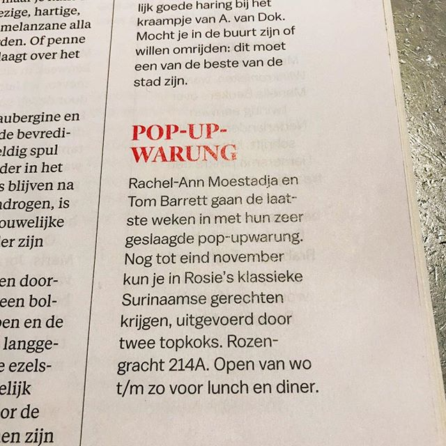 Thanks @pshetparool for the article! The warung is open for dinner Wednesday to Sunday 17-23hrs til  Sunday 2 December. See you there! #nolunch #warungrosies