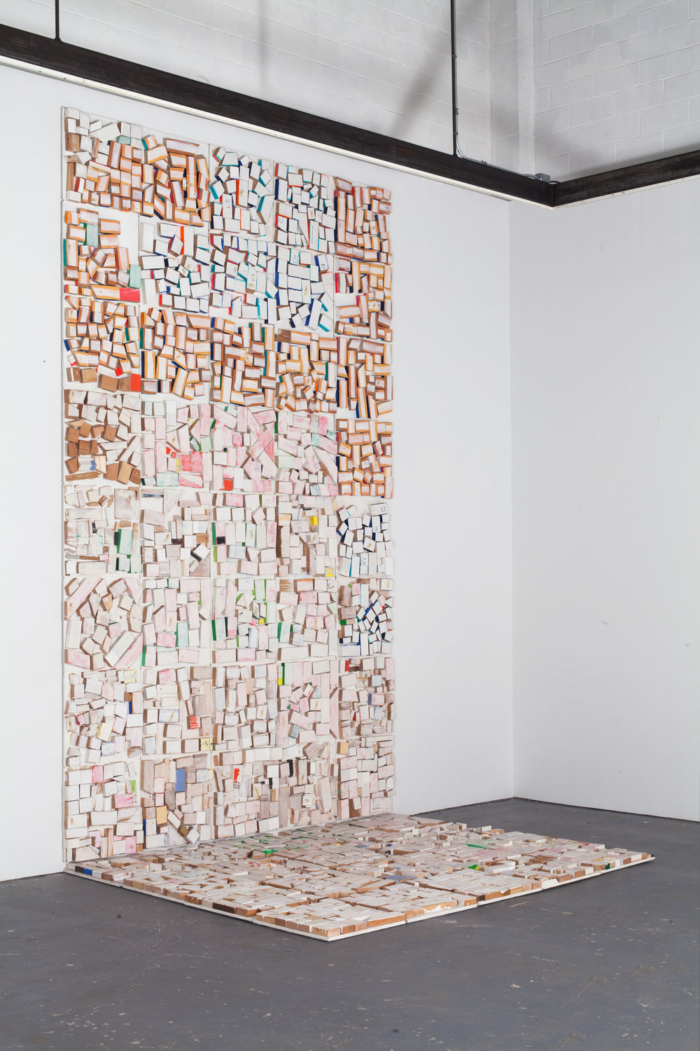 Cordy Ryman-Rafterweb Scrapwall V2-2012-2013-acrylic shellac and enamel on wood-30x10-side.jpg