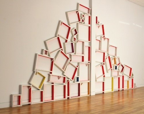 Installation view, Cordy Ryman:   shuffle / scrap / echo , Visual Arts Center, Summit, New Jersey, 2013