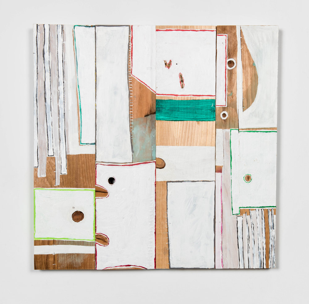 CR19-003_Cordy Ryman-Striped D's Super Planks-2019-acrylic and staples on wood-28 x 28 x 2.75 inches.jpg