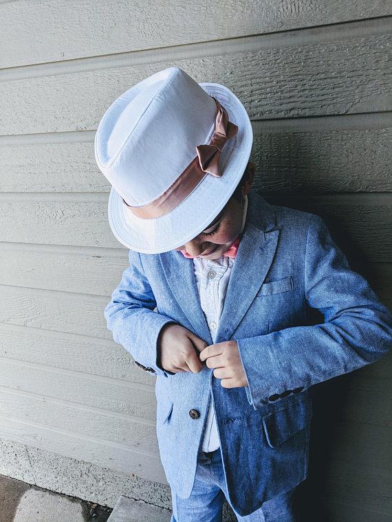 d24b9ac5 Navy Hat, Blue, Fedora, Boy, Toddler, Ring Bearer, Wedding, Rose Gold