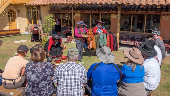 The Chinchero Traditional Textile Centre. - Beginning with spinning and moving through each step of the weaving process, discover the rainbow of colours that natural dyes produce and learn how to warp, weave and finally finish with the unique ñawi awapa border technique.