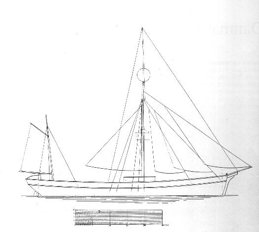 Motorfyrskib nr. 1 - sejltegning. Fiskeri- og Søfartsmuseet.