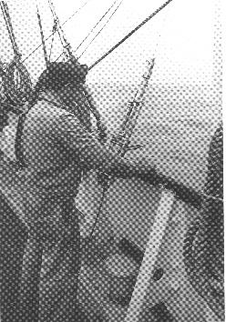 Klar til at hente vandprøver. ER Fyrskib, sommeren 1969. Foto: Fiskeri- og Søfartsmuseet.