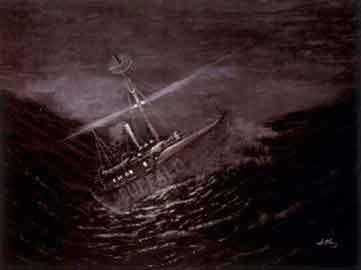 Nogenlunde sådan har søfolkene set Fyrskibene om natten.Foto: Bulito efter maleri af ubekendt.