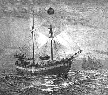 Ein Stich, der das Feuerschiff VI im Einsatz zeigt.