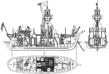 Zeichnung des Motorfeuerschiffes No 4