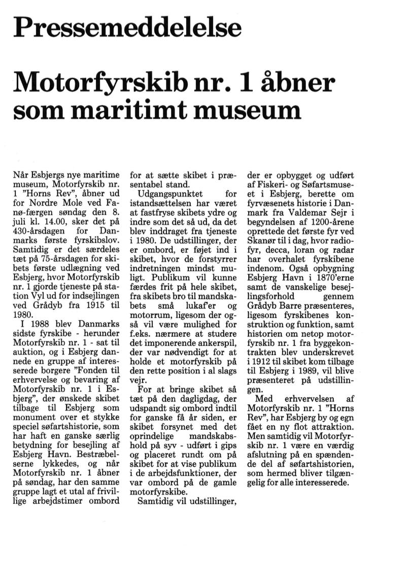 Pressemeddelelse –Motorfyrskib nr. 1 åbner som maritimt museum