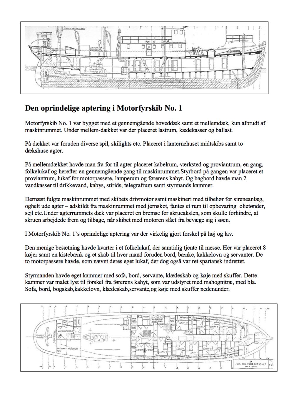 Den oprindelige aptering i motorfyrskibet no. 1