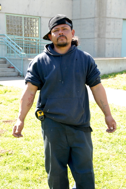 Carlos - Born in El Salvador, Carlos has lived in San Francisco for most of his adult life. He bought a house when he was nineteen, got married, and had a daughter. He says that after some bad decisions he lost the house, split up with his wife, and went to prison. He appreciates that SOS services come to the neighborhood he's called home for most of the last 30 years and appreciates seeing the friendly faces of our outreach team there. (Photo credit: Marlena Hartman-Filson)