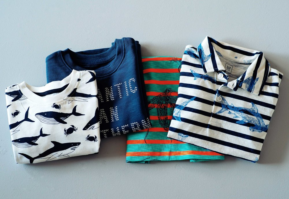 Fresh Navy and White prints, with a casual, playful feel on soft jersey and slub terry.    H&M   and   GAP