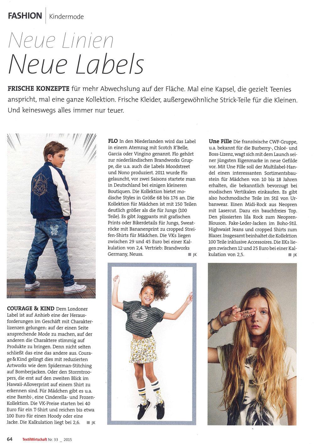 NEW LABELS - TextilWertchaft Magazine - 2015