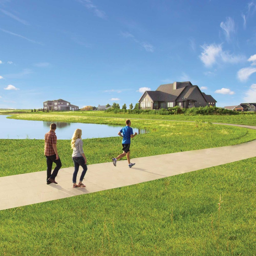Recreational Trails - Recreational trails with scenic views of pond and wild grasses.