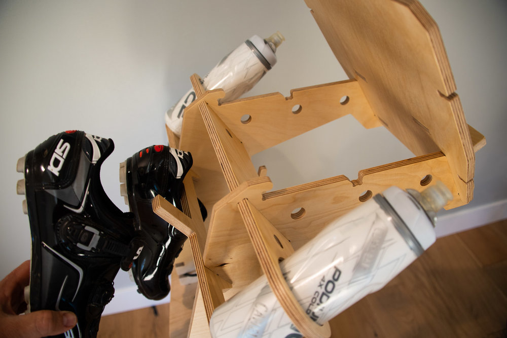 Bottle Holders and Shoe Storage - Two water bottles are within easy reach. When you finish the ride, hang your shoes up to keep everything tidy and up off the floor.