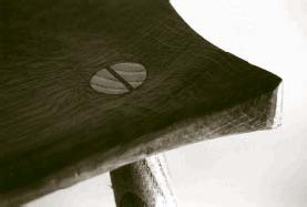Detail from a Lancashire Craftsman's chair - from local Elm and Ash (planked, seasoned and kiln-dried by the AVP).