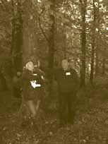 John Fennessy (left) and Gavin Munro by a elite sycamore at Donadea Forest Park, Co. Kildare
