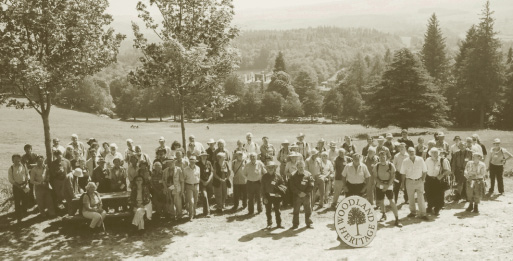 Members gather on the hill overlooking Bowhill House