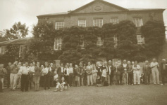 WH members gathering outside Trawscoed Hall in June 2005