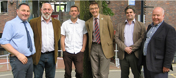 Pictured: from left: RFS Education Manager Ted Wilson, University of Cumbria's Mark Tomlinson, Forestry Commission England's Steve Fowkes, Woodland Heritage's Guy Marshall and Will Richardson and Martin Glynn from RDI Associates