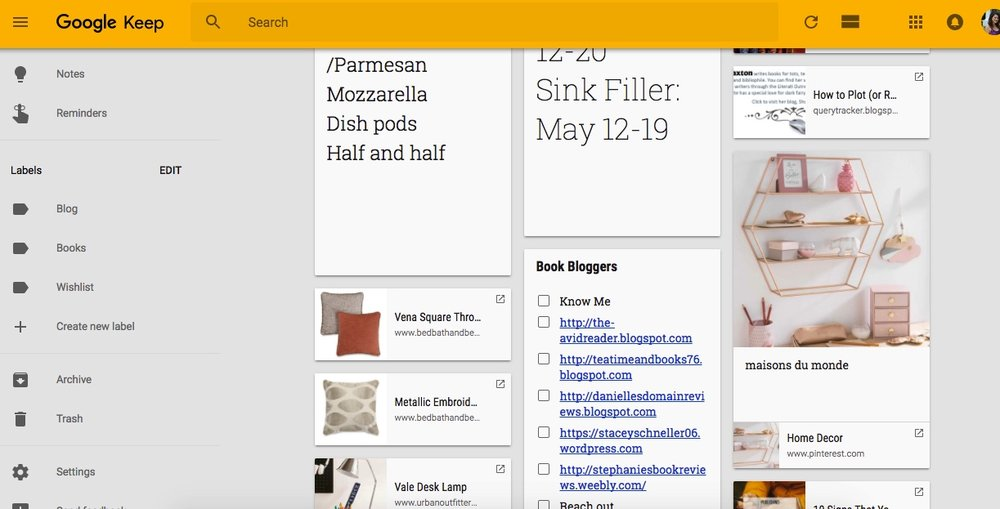 Using Google Keep as an online writing tool