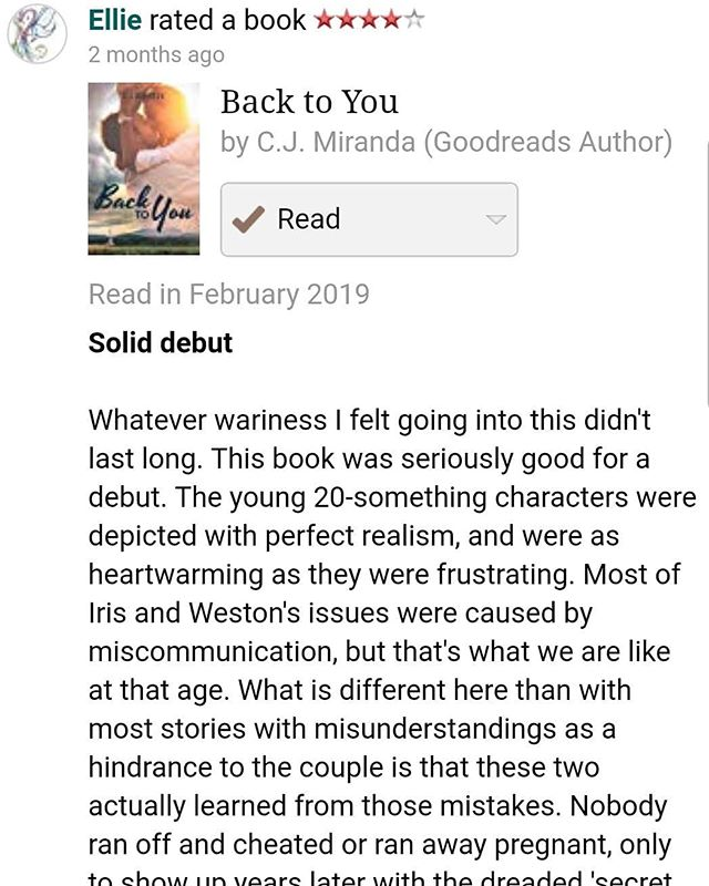 Okay, so as an author I have really bad anxiety checking my reviews. I check maybe once every few months, and yesterday was the day I saw this one. I nearly cried (while at work, mind you). It reminded me of why I write about normal, flawed people, and thrilled me in the fact that I succeeded in #BacktoYou .  Some people may not believe that reviewing books means anything, and that's so sad. You never know that the one review you leave may make an anxiety- ridden, terrified-of-failing author want to start writing again. . . . . . #author #authorsofinstagram #writer #writersofinstagram #instawriters #turtlewriters #romance #romancewriters #bookstagram #happy #anxiety
