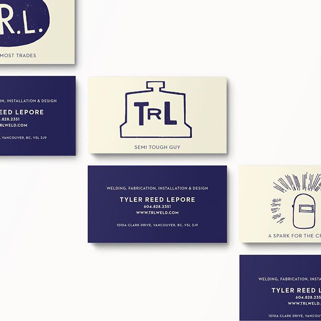 "Some of the business card designs for TRL Weld. Off white, deep blue and amazing tag lines like ""A spark for the creative"" ""semi tough guy"" and ""Jack of most trades"". Those gems are from Tyler himself. . . .  #branding #graphicdesign #welding #motorcycles #vancouver #yvr #marketing #logos #trades"