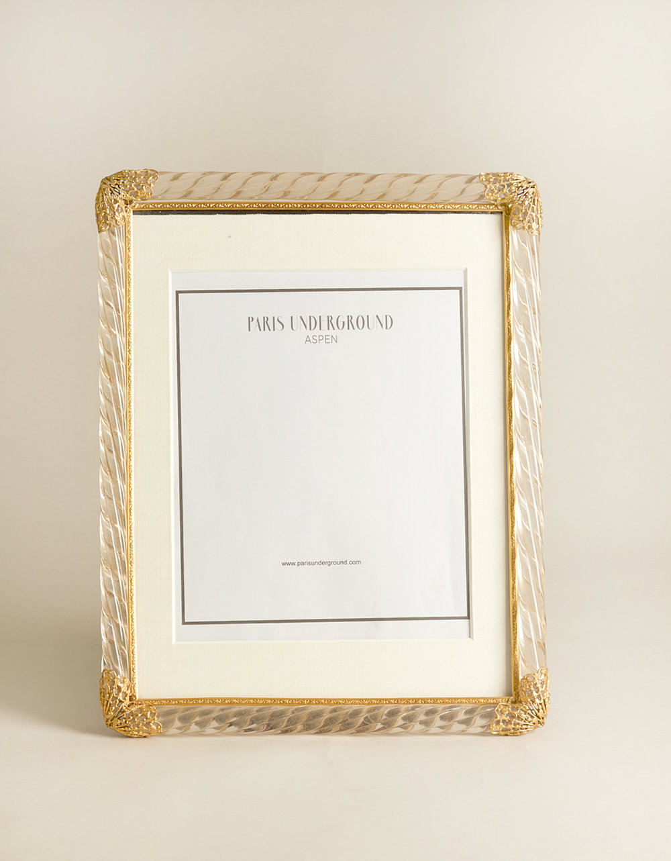 1940s French Murano Glass Frame With Gold Filigree Paris Underground