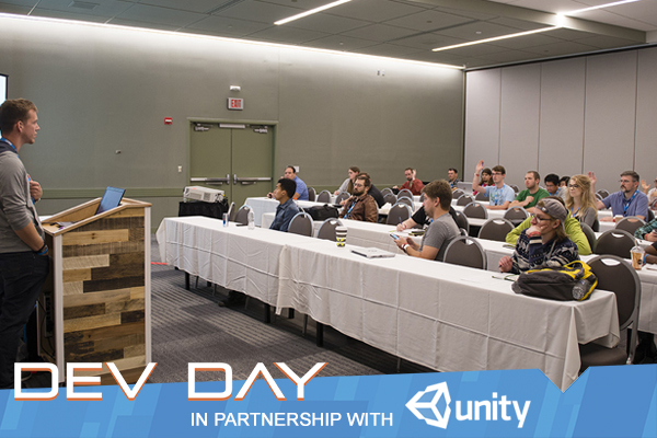 Friday 9/28 | 10am - 6pm   GDEX offers the  best educational experience  in the region with our  All Day Dev Day . Whether you're looking to up your developments skills, improve your art, start a business, or just learn more about the industry, GDEX has everything. And this year we're excited to be partnered with  UNITY  to give a special look at the latest Unity features, and an extended development session. Tickets are limited, so buy yours now.