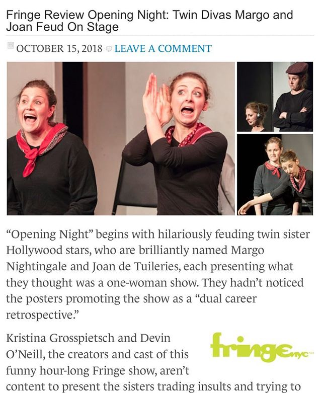 We've been REVIEWED! And the review is GOOD! 🎉🍾🎭 . . . Beyond ecstatic that critic J Mandell (New York Theater) saw #OPENINGNIGHT at #FringeNYC last night. And completely over the moon that he had a great time! #EssenceofFringe #DeftPhysicalComedy #margoandjoanforever . . . Check our the review for yourself at NewYorkTheater.me - and buy a ticket for our 4 remaining shows with the link in our bio!!! #newplay #nyctheater #newyorktheater #comedyduo #pinchmeindreaming