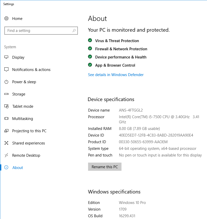"You can now see your PC name under ""Device Name"""