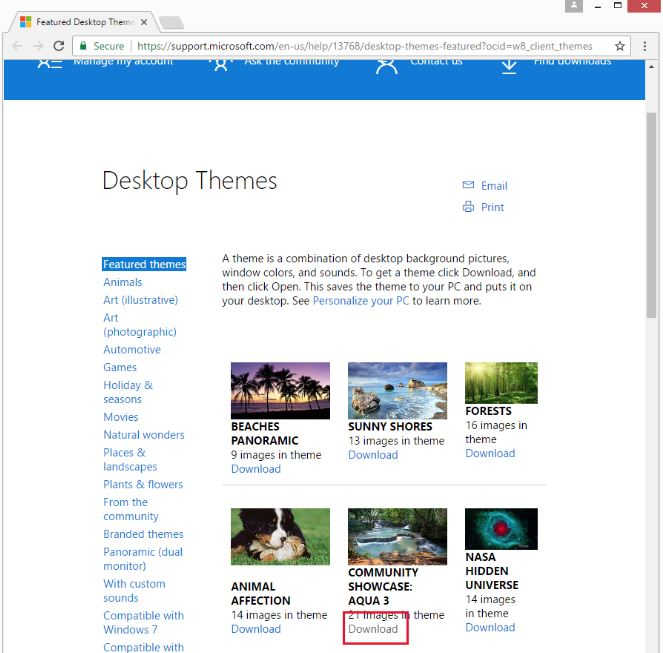Step 2a -   Click the  Get more themes online  link. This will open a web browser window and present you with a list of themes you can choose from. Make a selection by clicking on the  Download  link under the theme of your choosing. In the screen shot example the  Community Showcase Aqua 3  was selected.