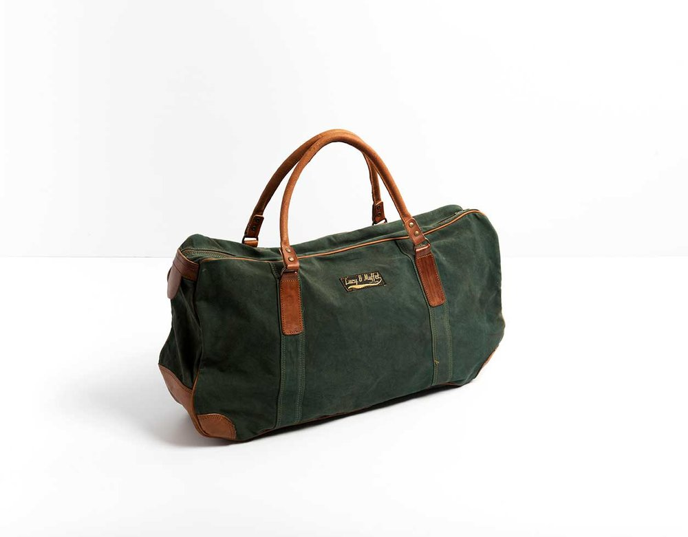 Lucy and Muffet Green Tote with Leather Handles