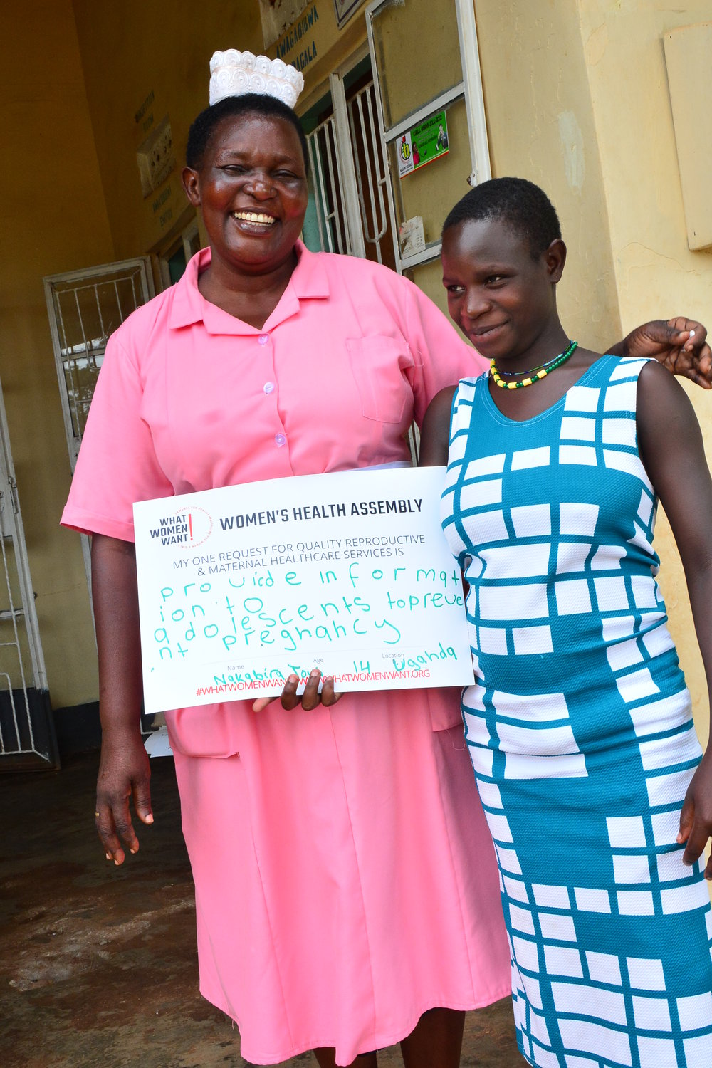 At 14, Nakabira Joan is five months pregnant. She dropped out of school due to lack of scholastic materials. She got pregnant and her father told her to stay with the man who impregnated her. She is now staying with her 'husband.' She believes if she had information about preventing pregnancy, she would not have got pregnant. Her priority ask for quality reproductive and maternal healthcare services: Provide information to adolescents to prevent teenage pregnancy.