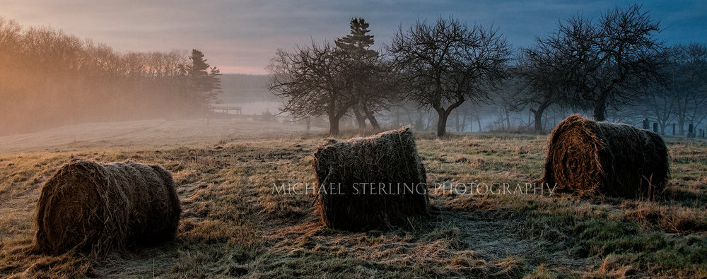 Hay on a Frosty Sunrise