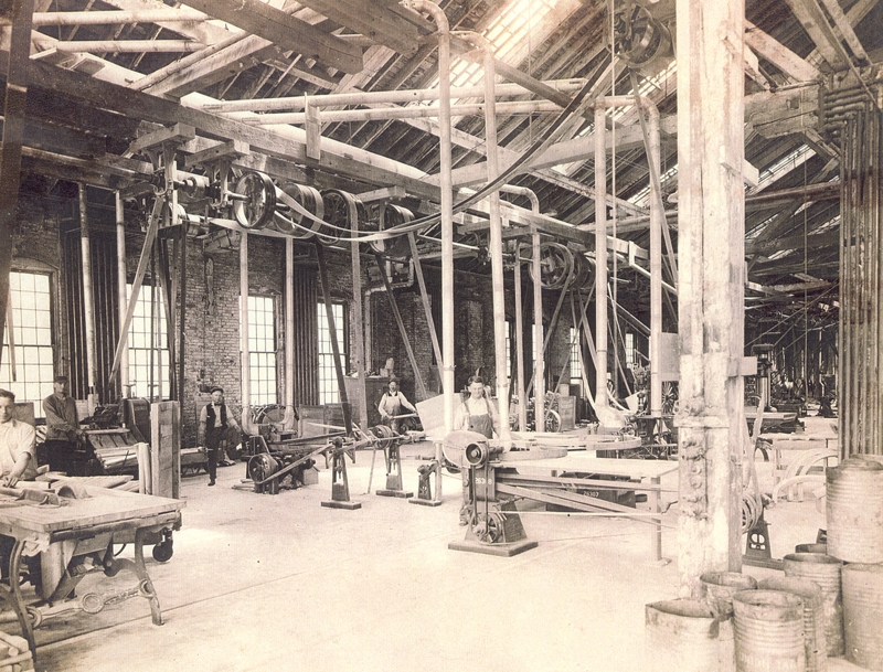 The men working in this interior photo of the Car Works are not identified. This is a picture circa 1864, before the facility was destroyed by fire in 1872. The building was rebuilt in the late 1880's.