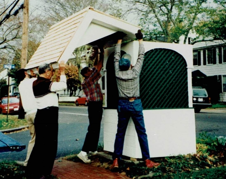 KIA members Ray O'Neil, Ward Abusamra, Cliff Fantel and Gil Indeglia rebuilding the village well in 1986