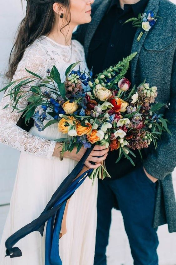 Bouquet by  Field Floral Studio . Image by  Emily Delamater Photography .