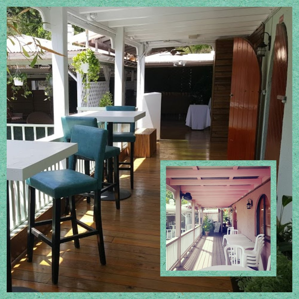 Before and after (insert) views of the side patio at Lucy Chops Lounge