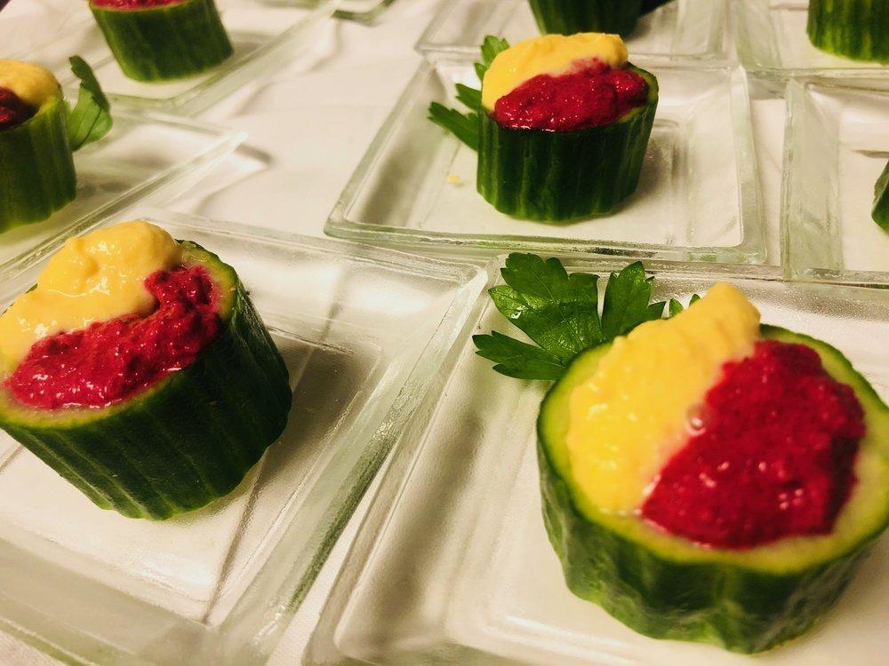 Dueling beet hummus cucumber cup
