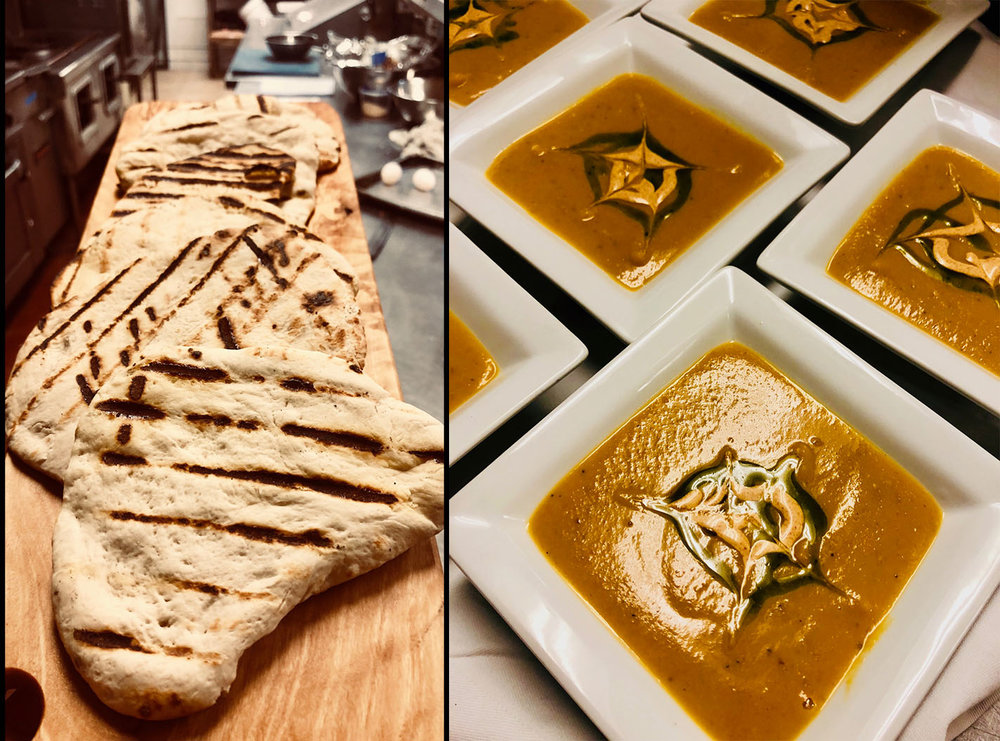 Grilled flat bread & Shorabit Jarjir