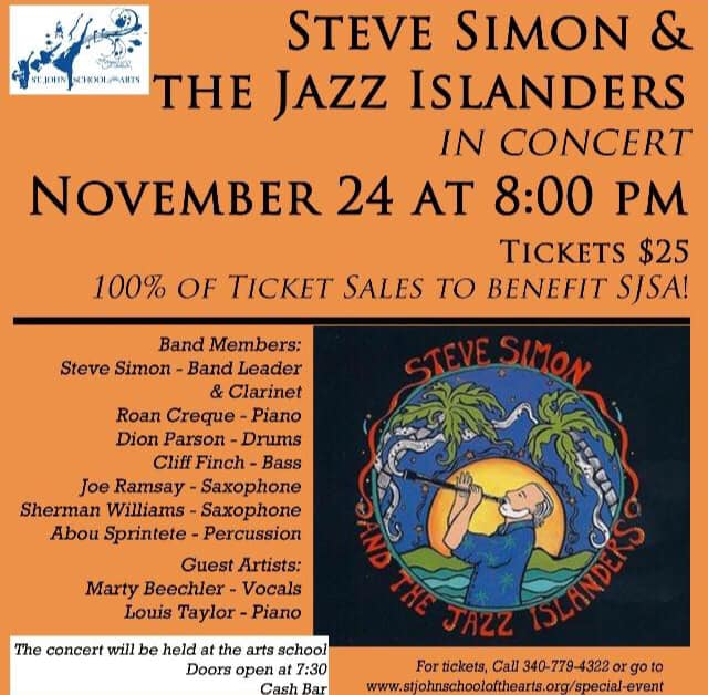 Free wine pairing at our November Full Moon Dinner with your ticket to the Steve Simon % the Jazz Islanders' concert.