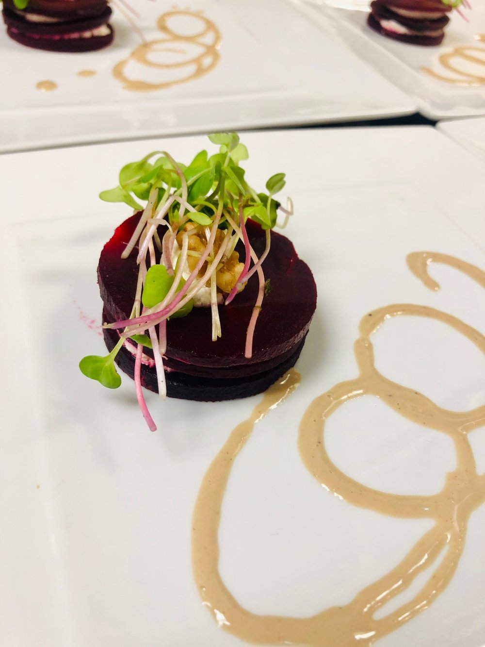 First Course: Beet and Goat Cheese Napoleon, Hazelnut Vinaigrette